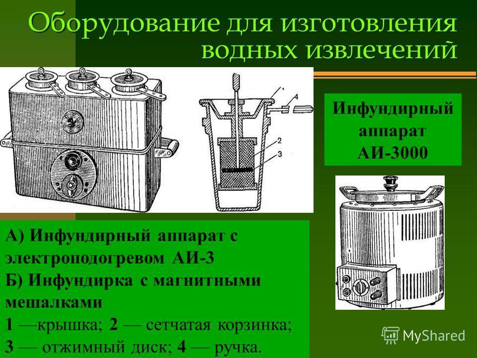 Оборудование для изготовления водных извлечений А) Инфундирный аппарат с электроподогревом АИ-3 Б) Инфундирка с магнитными мешалками 1 крышка; 2 сетчатая корзинка; 3 отжимный диск; 4 ручка. Инфундирный аппарат АИ-3000