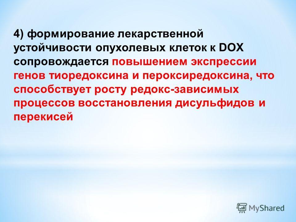 4) формирование лекарственной устойчивости опухолевых клеток к DOX сопровождается повышением экспрессии генов тиоредоксина и пероксиредоксина, что способствует росту редокс-зависимых процессов восстановления дисульфидов и перекисей