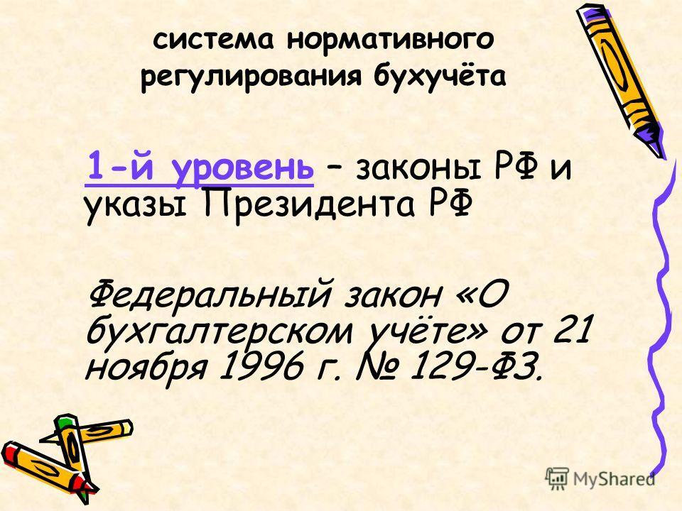 система нормативного регулирования бухучёта 1-й уровень – законы РФ и указы Президента РФ Федеральный закон «О бухгалтерском учёте» от 21 ноября 1996 г. 129-ФЗ.