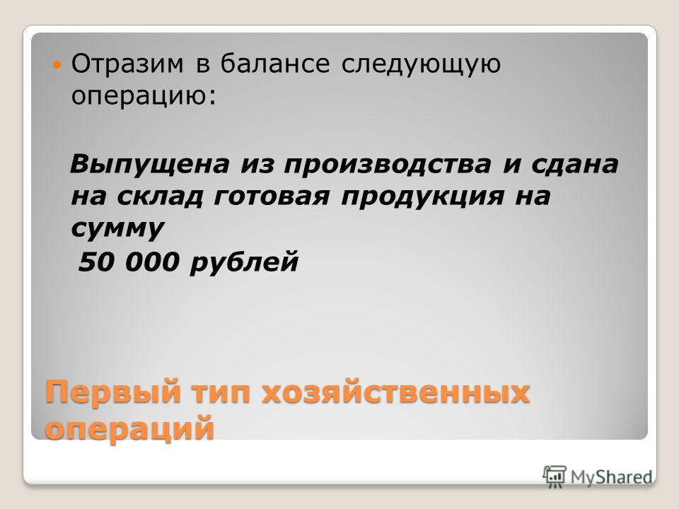 Первый тип хозяйственных операций Отразим в балансе следующую операцию: Выпущена из производства и сдана на склад готовая продукция на сумму 50 000 рублей