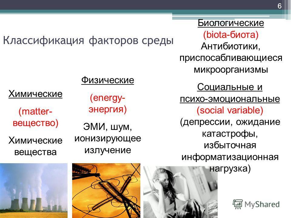 6 Классификация факторов среды Физические (energy- энергия) ЭМИ, шум, ионизирующее излучение Химические (matter- вещество) Химические вещества Биологические (biota-биота) Антибиотики, приспосабливающиеся микроорганизмы Социальные и психо-эмоциональны