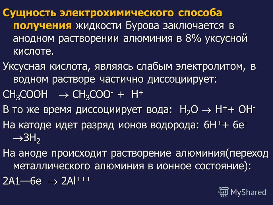 Сущность электрохимического способа получения жидкости Бурова заключается в анодном растворении алюминия в 8% уксусной кислоте. Уксусная кислота, являясь слабым электролитом, в водном растворе частично диссоциирует: CН З СООН СН З СОО - + Н + В то же