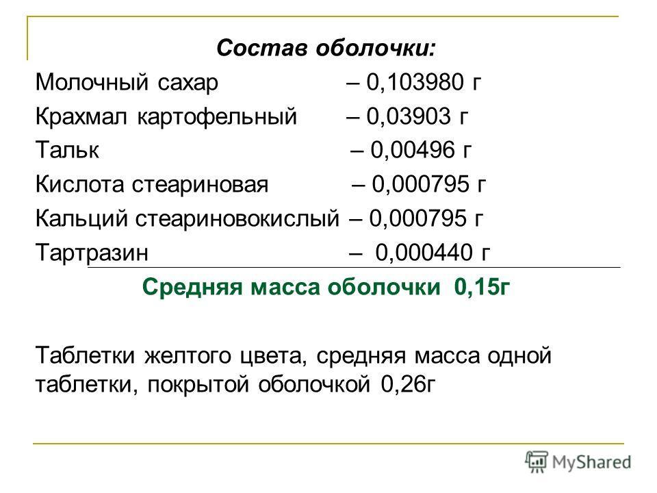Состав оболочки: Молочный сахар – 0,103980 г Крахмал картофельный – 0,03903 г Тальк – 0,00496 г Кислота стеариновая – 0,000795 г Кальций стеариновокислый – 0,000795 г Тартразин – 0,000440 г Средняя масса оболочки 0,15г Таблетки желтого цвета, средняя