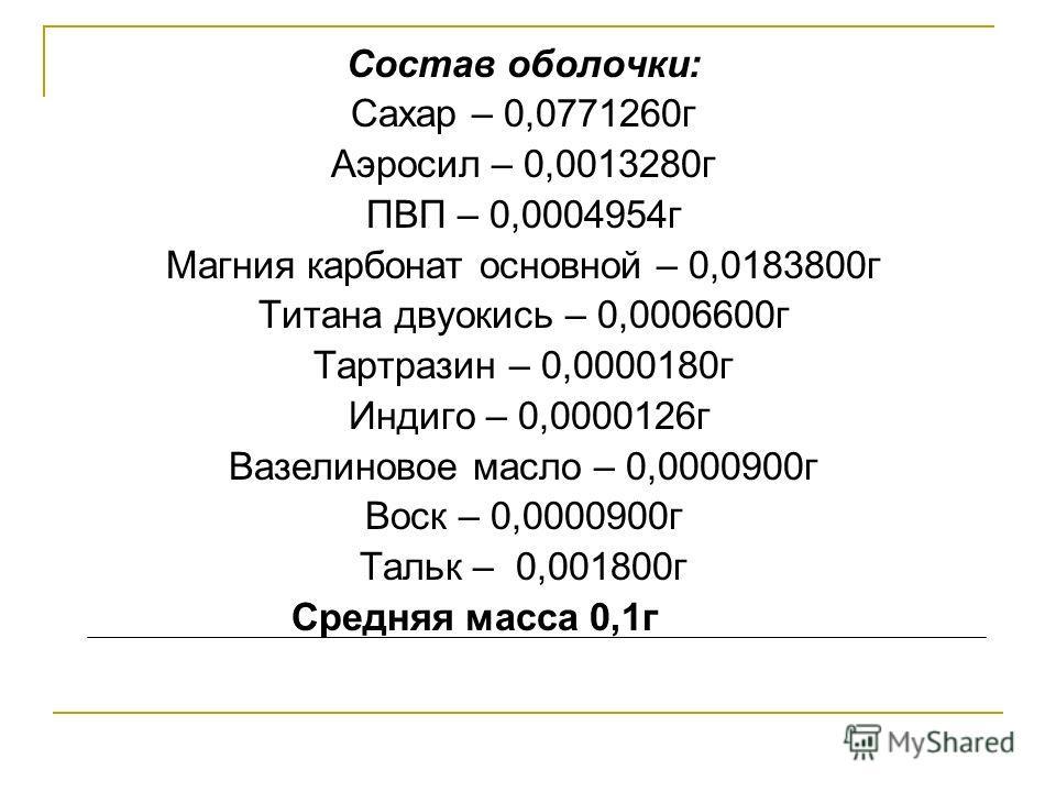 Состав оболочки: Сахар – 0,0771260г Аэросил – 0,0013280г ПВП – 0,0004954г Магния карбонат основной – 0,0183800г Титана двуокись – 0,0006600г Тартразин – 0,0000180г Индиго – 0,0000126г Вазелиновое масло – 0,0000900г Воск – 0,0000900г Тальк – 0,001800г
