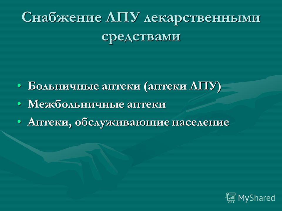 Снабжение ЛПУ лекарственными средствами Больничные аптеки (аптеки ЛПУ)Больничные аптеки (аптеки ЛПУ) Межбольничные аптекиМежбольничные аптеки Аптеки, обслуживающие населениеАптеки, обслуживающие население