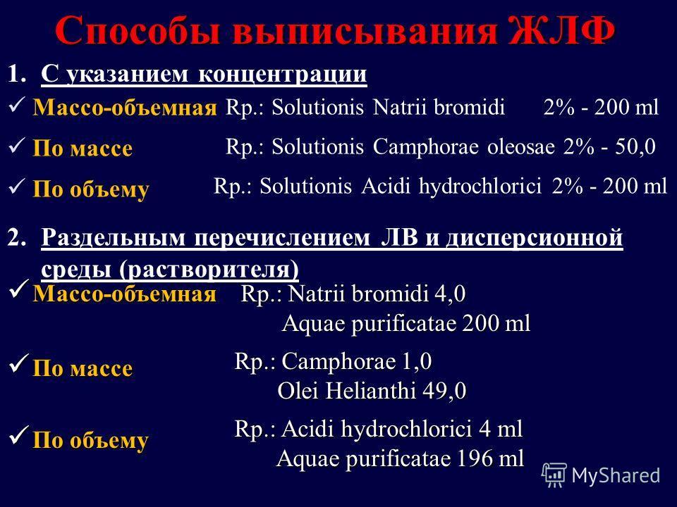 Способы выписывания ЖЛФ Rp.: Solutionis Natrii bromidi 2% - 200 ml Rp.: Solutionis Camphorae oleosae 2% - 50,0 Rp.: Solutionis Acidi hydrochlorici 2% - 200 ml Массо-объемная По массе По объему 1.С указанием концентрации 2.Раздельным перечислением ЛВ