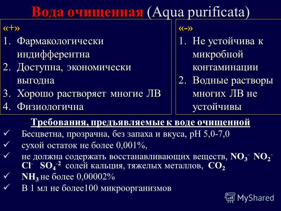 Вода очищенная (Aqua purificata) Требования, предъявляемые к воде очищенной Бесцветна, прозрачна, без запаха и вкуса, рН 5,0-7,0 сухой остаток не более 0,001%, не должна содержать восстанавливающих веществ, NO 3 - NO 2 - Cl - SO 4 -2 солей кальция, т