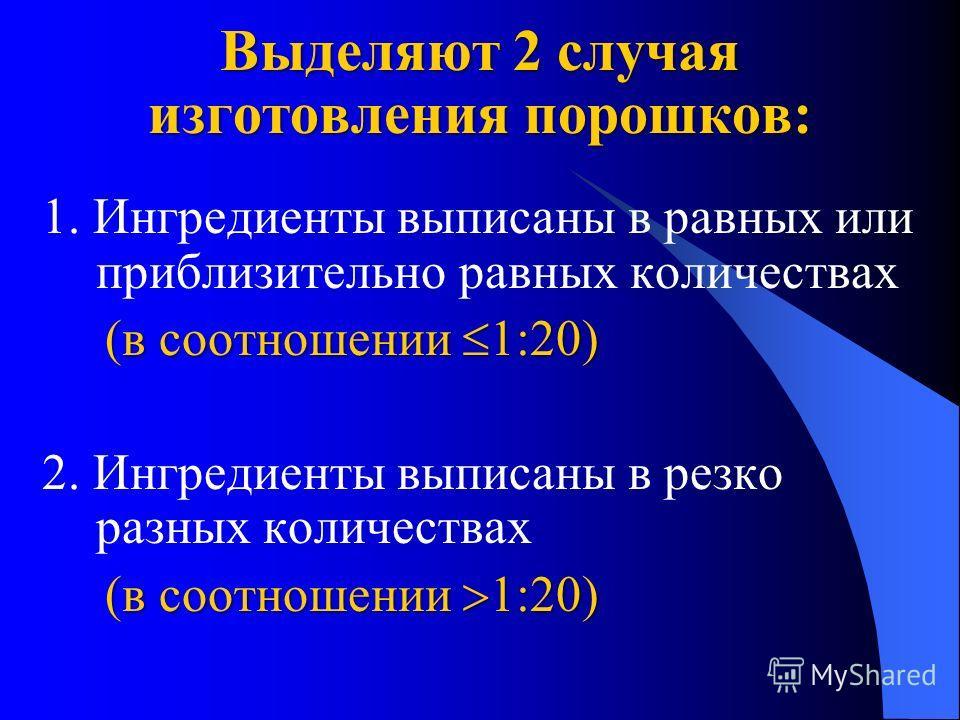 Выделяют 2 случая изготовления порошков: 1. Ингредиенты выписаны в равных или приблизительно равных количествах (в соотношении 1:20) (в соотношении 1:20) 2. Ингредиенты выписаны в резко разных количествах (в соотношении 1:20) (в соотношении 1:20)
