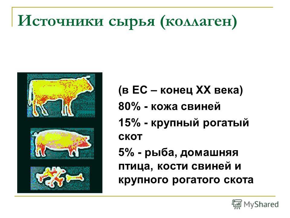 Источники сырья (коллаген) (в ЕС – конец ХХ века) 80% - кожа свиней 15% - крупный рогатый скот 5% - рыба, домашняя птица, кости свиней и крупного рогатого скота