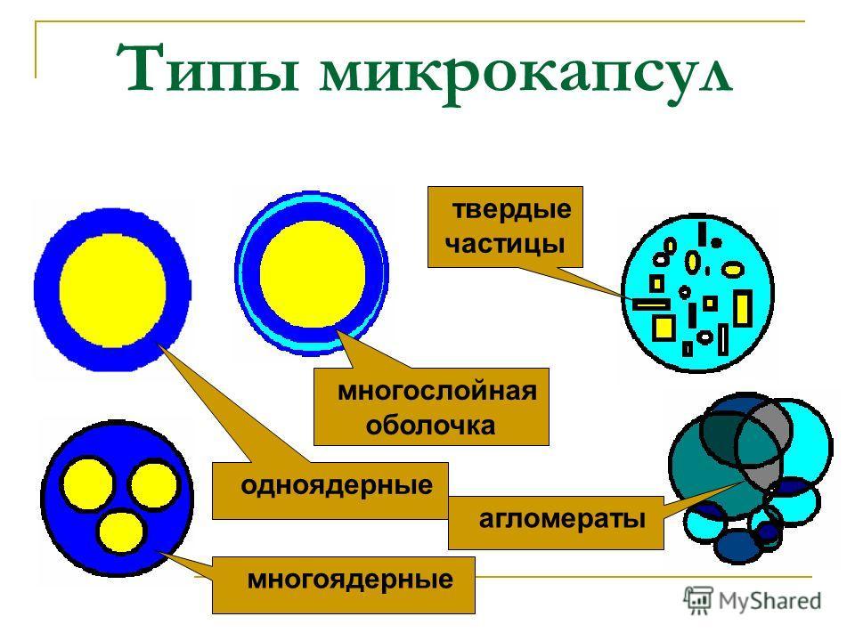 Типы микрокапсул многоядерные одноядерные многослойная оболочка твердые частицы агломераты