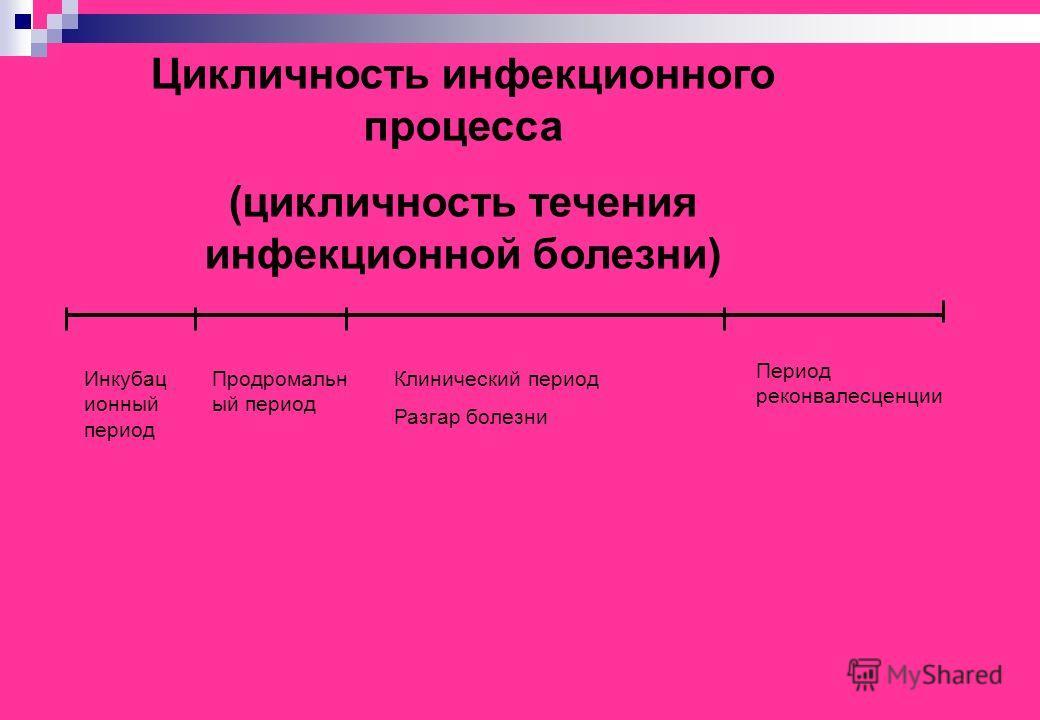 Цикличность инфекционного процесса (цикличность течения инфекционной болезни) Инкубац ионный период Продромальн ый период Клинический период Разгар болезни Период реконвалесценции