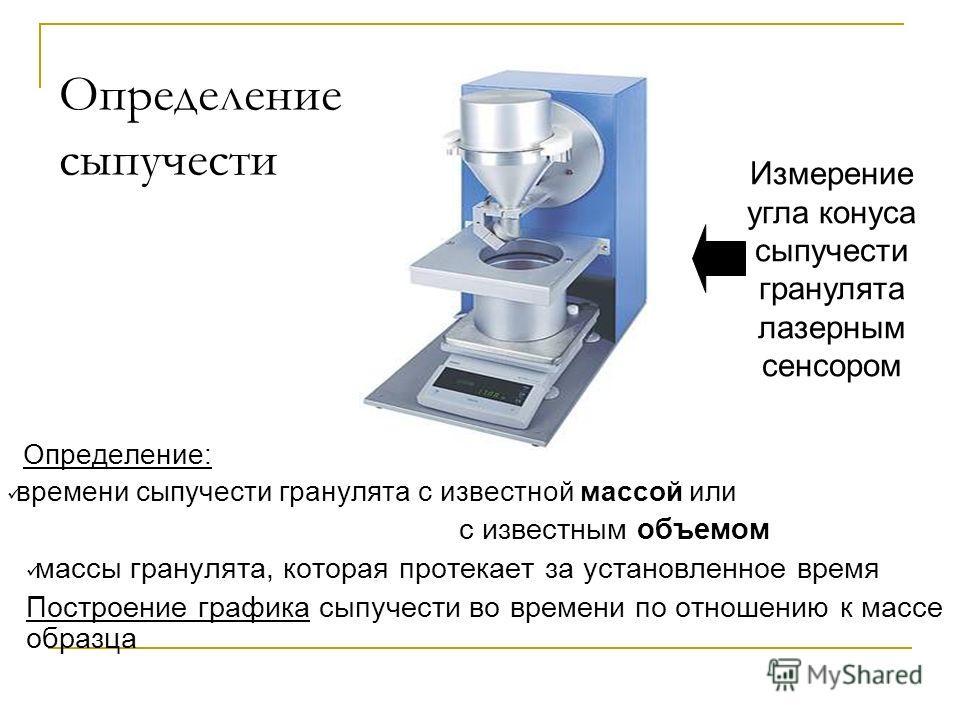 Определение сыпучести Определение: времени сыпучести гранулята с известной массой или с известным объемом массы гранулята, которая протекает за установленное время Построение графика сыпучести во времени по отношению к массе образца Измерение угла ко
