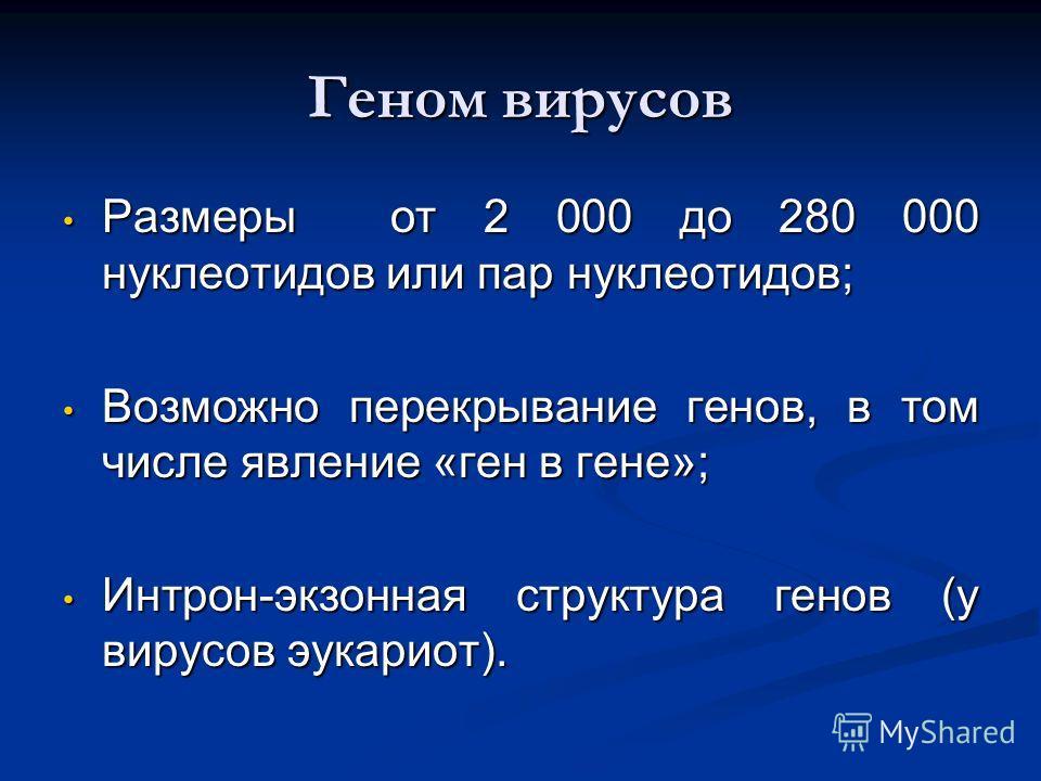 Геном вирусов Размеры от 2 000 до 280 000 нуклеотидов или пар нуклеотидов; Размеры от 2 000 до 280 000 нуклеотидов или пар нуклеотидов; Возможно перекрывание генов, в том числе явление «ген в гене»; Возможно перекрывание генов, в том числе явление «г