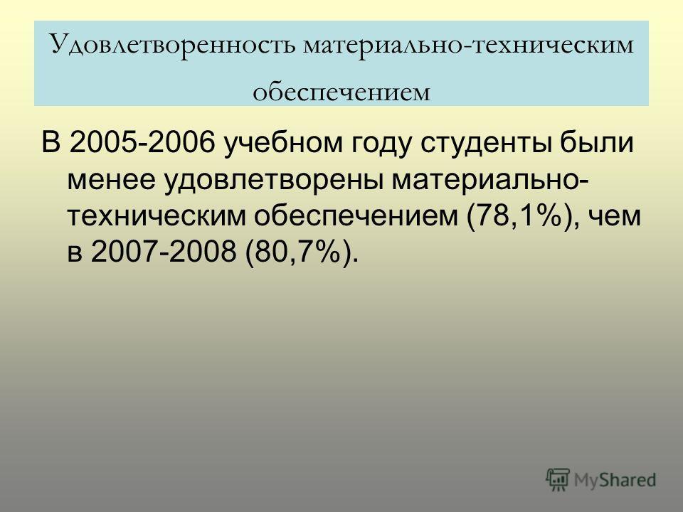 Удовлетворенность материально-техническим обеспечением В 2005-2006 учебном году студенты были менее удовлетворены материально- техническим обеспечением (78,1%), чем в 2007-2008 (80,7%).