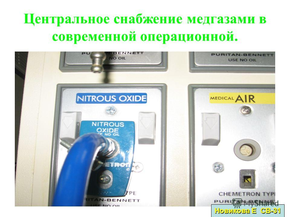 Центральное снабжение медгазами в современной операционной. Новикова Е СВ-31