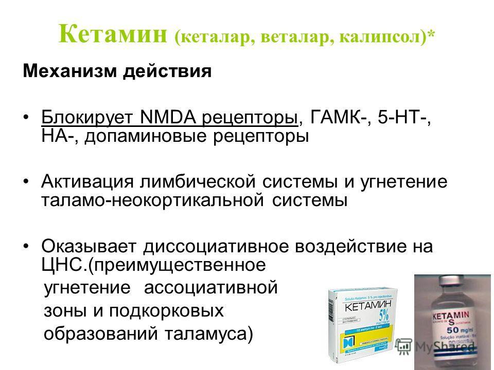 Кетамин (кеталар, веталар, калипсол)* Механизм действия Блокирует NMDA рецепторы, ГАМК-, 5-HT-, НА-, допаминовые рецепторы Активация лимбической системы и угнетение таламо-неокортикальной системы Оказывает диссоциативное воздействие на ЦНС.(преимущес