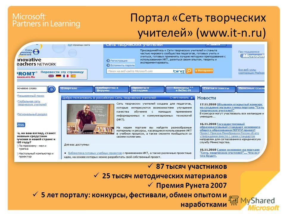87 тысяч участников 25 тысяч методических материалов Премия Рунета 2007 5 лет порталу: конкурсы, фестивали, обмен опытом и наработками Портал «Сеть творческих учителей» (www.it-n.ru)