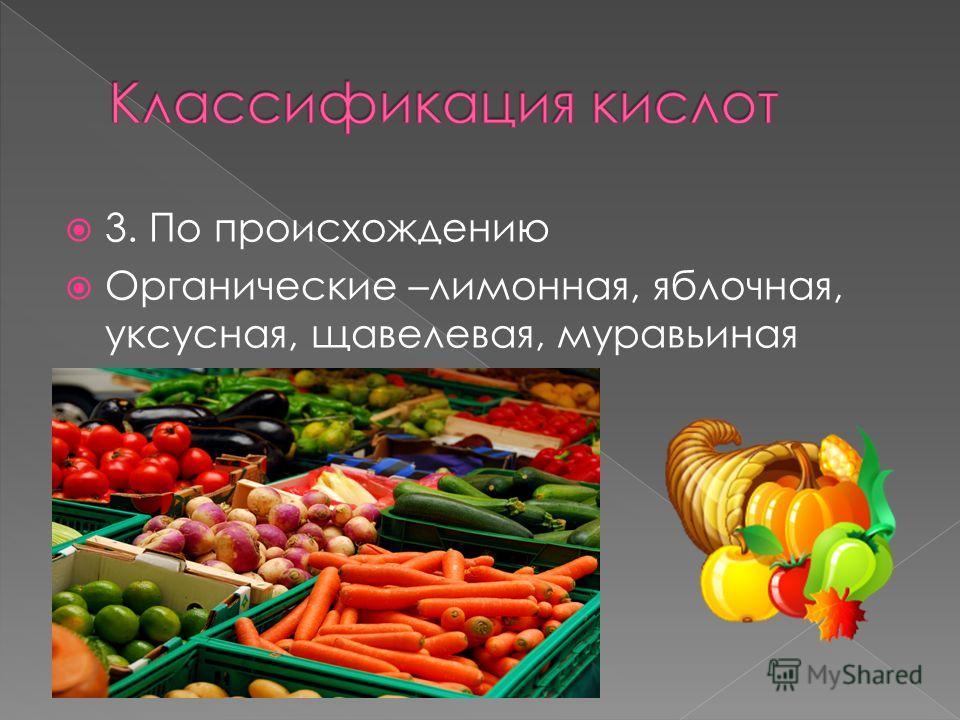 3. По происхождению Органические –лимонная, яблочная, уксусная, щавелевая, муравьиная