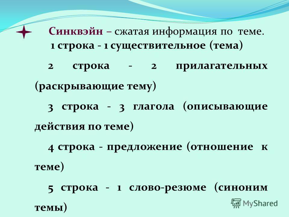 1 строка - 1 существительное (тема) 2 строка - 2 прилагательных (раскрывающие тему) 3 строка - 3 глагола (описывающие действия по теме) 4 строка - предложение (отношение к теме) 5 строка - 1 слово-резюме (синоним темы) Синквэйн – сжатая информация по