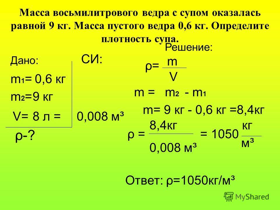 Масса восьмилитрового ведра с супом оказалась равной 9 кг. Масса пустого ведра 0,6 кг. Определите плотность супа. СИ: Дано: m1=m1=0,6 кг m2=m2=9 кг V=8 л = ρ-?ρ-? Решение: 0,008 м³ ρ=ρ= m V m =m2m2 - m 1 m= 9 кг - 0,6 кг =8,4кг ρ =ρ = 8,4кг 0,008 м³