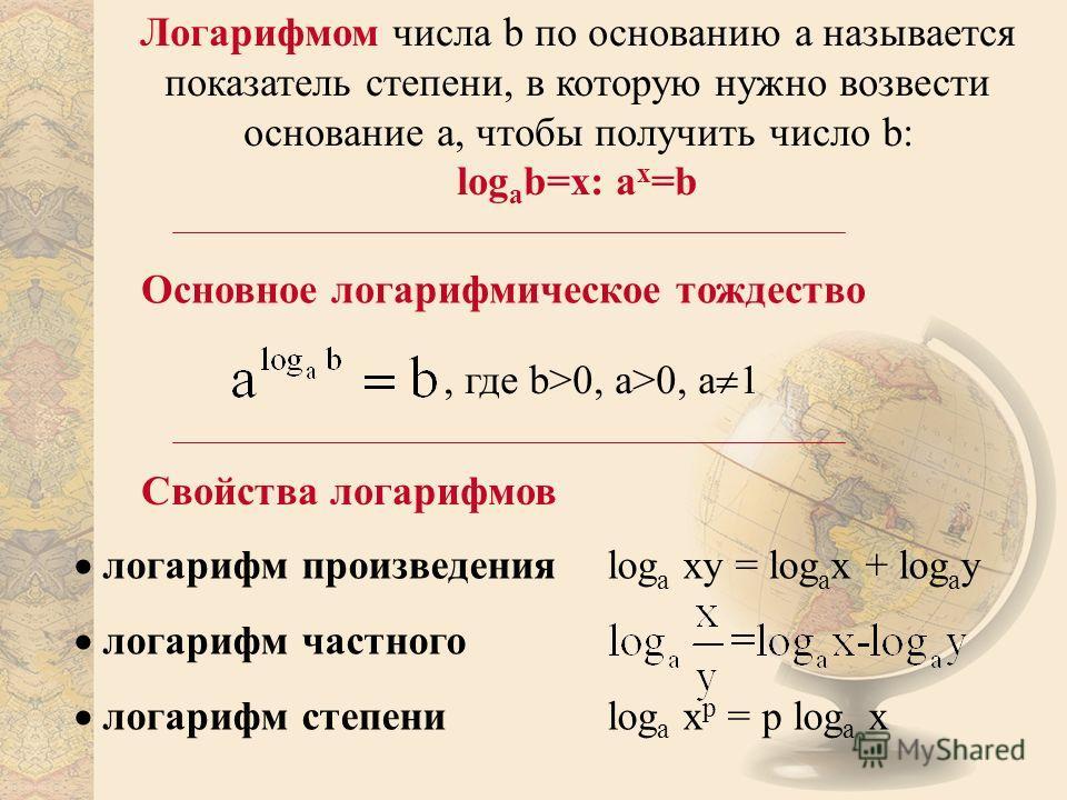 Логарифмом числа b по основанию a называется показатель степени, в которую нужно возвести основание a, чтобы получить число b: log a b=x: a x =b Свойства логарифмов логарифм произведения log a xy = log a x + log a y логарифм степени log a x p = p log