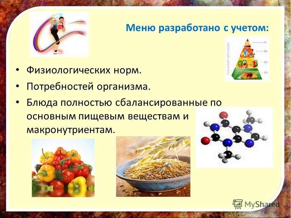 Меню разработано с учетом: Физиологических норм. Потребностей организма. Блюда полностью сбалансированные по основным пищевым веществам и макронутриентам.