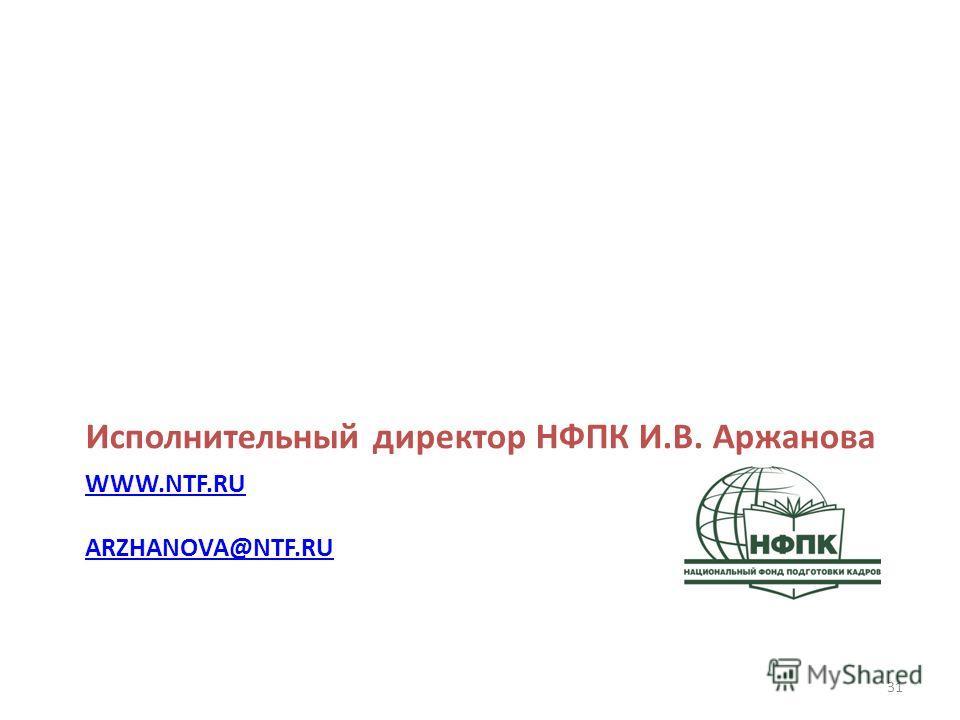 WWW.NTF.RU ARZHANOVA@NTF.RU Исполнительный директор НФПК И.В. Аржанова 31