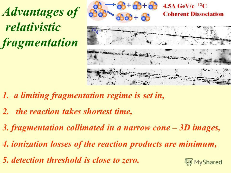 1.a limiting fragmentation regime is set in, 2. the reaction takes shortest time, 3. fragmentation collimated in a narrow cone – 3D images, 4. ionization losses of the reaction products are minimum, 5. detection threshold is close to zero. Advantages