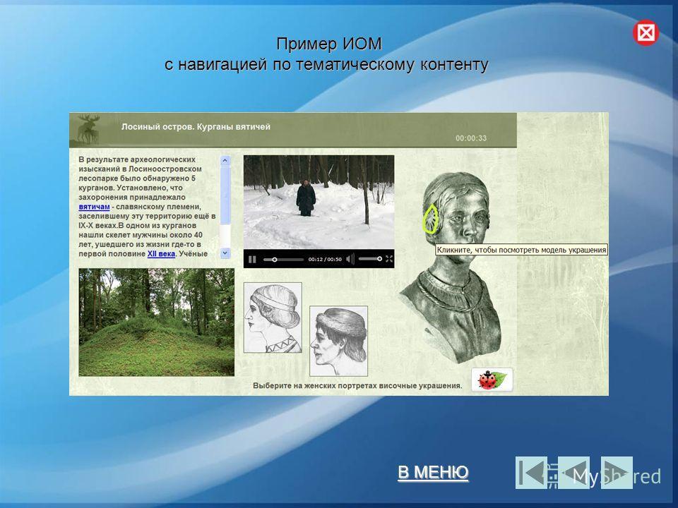 В МЕНЮ В МЕНЮ Пример ИОМ с навигацией по тематическому контенту