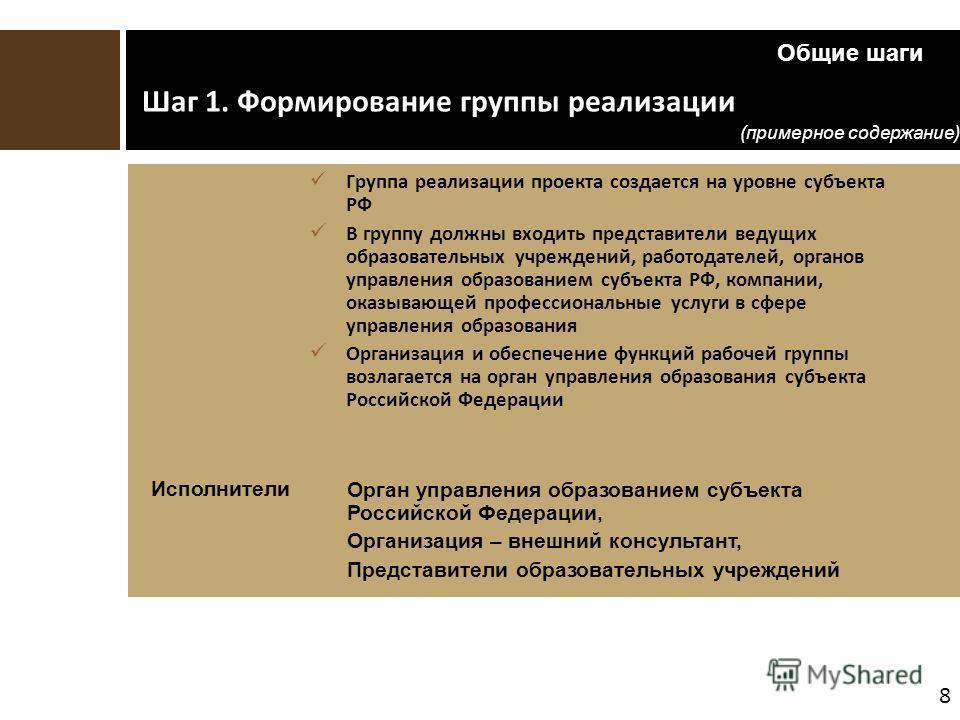 8 Шаг 1. Формирование группы реализации Группа реализации проекта создается на уровне субъекта РФ В группу должны входить представители ведущих образовательных учреждений, работодателей, органов управления образованием субъекта РФ, компании, оказываю