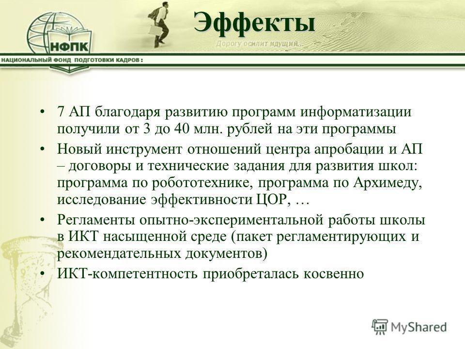 Эффекты 7 АП благодаря развитию программ информатизации получили от 3 до 40 млн. рублей на эти программы Новый инструмент отношений центра апробации и АП – договоры и технические задания для развития школ: программа по робототехнике, программа по Арх
