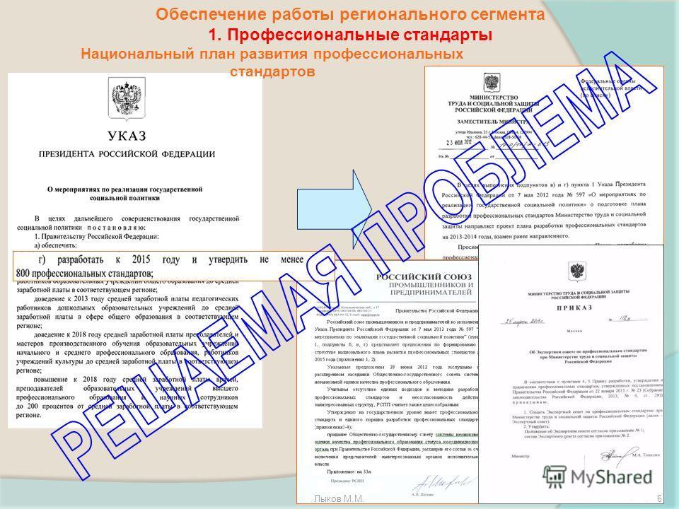 Обеспечение работы регионального сегмента 1. Профессиональные стандарты Национальный план развития профессиональных стандартов Лыков М.М.6