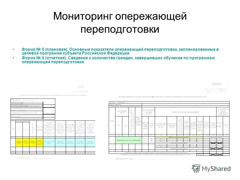 Мониторинг опережающей переподготовки Форма 5 (плановая). Основные показатели опережающей переподготовки, запланированные в целевой программе субъекта Российской Федерации Форма 6 (отчетная). Сведения о количестве граждан, завершивших обучение по про