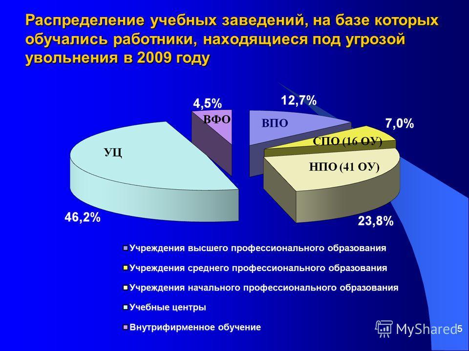 5 Распределение учебных заведений, на базе которых обучались работники, находящиеся под угрозой увольнения в 2009 году