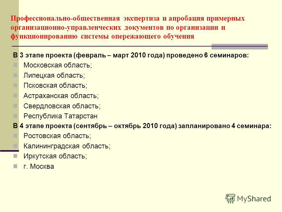 Профессионально-общественная экспертиза и апробация примерных организационно-управленческих документов по организации и функционированию системы опережающего обучения В 3 этапе проекта (февраль – март 2010 года) проведено 6 семинаров: Московская обла