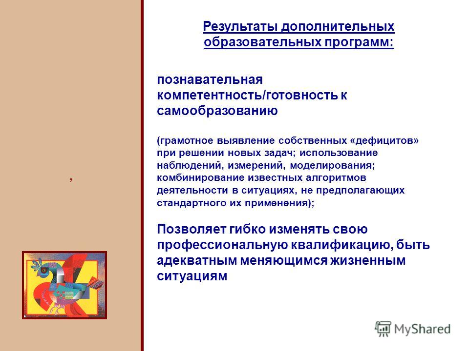 Результаты дополнительных образовательных программ: познавательная компетентность/готовность к самообразованию (грамотное выявление собственных «дефицитов» при решении новых задач; использование наблюдений, измерений, моделирования; комбинирование из