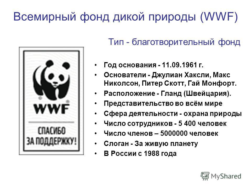 Всемирный фонд дикой природы (WWF) Тип - благотворительный фонд Год основания - 11.09.1961 г. Основатели - Джулиан Хаксли, Макс Николсон, Питер Скотт, Гай Монфорт. Расположение - Гланд (Швейцария). Представительство во всём мире Сфера деятельности -