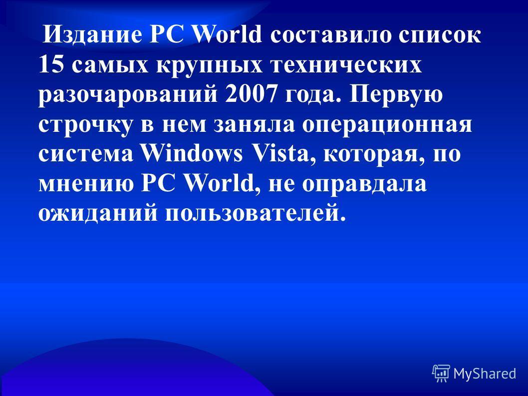 Издание PC World составило список 15 самых крупных технических разочарований 2007 года. Первую строчку в нем заняла операционная система Windows Vista, которая, по мнению PC World, не оправдала ожиданий пользователей.