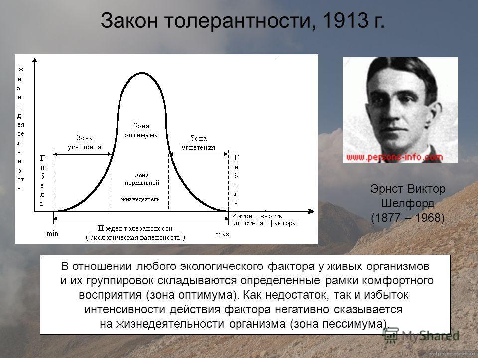 Эрнст Виктор Шелфорд (1877 – 1968) В отношении любого экологического фактора у живых организмов и их группировок складываются определенные рамки комфортного восприятия (зона оптимума). Как недостаток, так и избыток интенсивности действия фактора нега