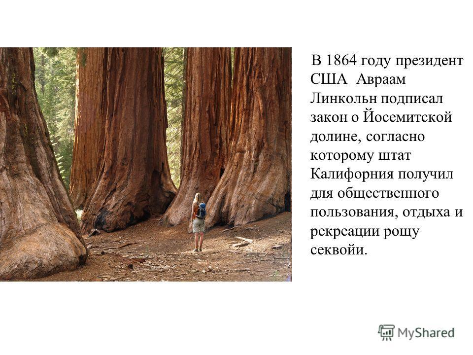 В 1864 году президент США Авраам Линкольн подписал закон о Йосемитской долине, согласно которому штат Калифорния получил для общественного пользования, отдыха и рекреации рощу секвойи.