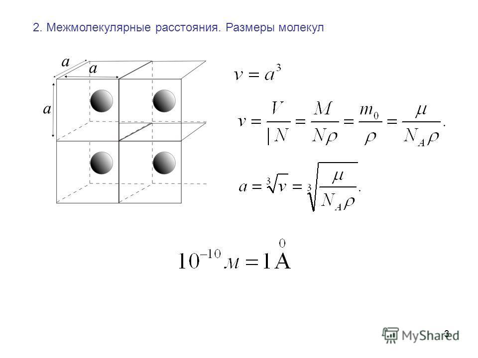 3 2. Межмолекулярные расстояния. Размеры молекул