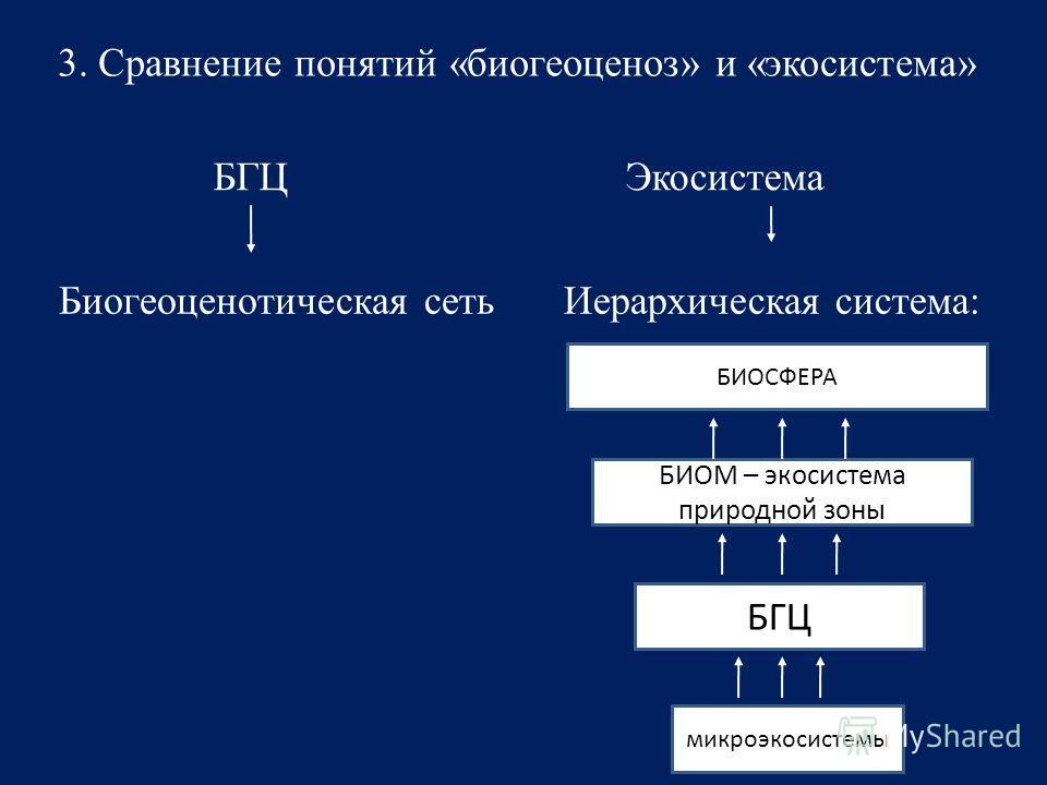 3. Сравнение понятий «биогеоценоз» и «экосистема» БГЦЭкосистема Биогеоценотическая сетьИерархическая система: БИОСФЕРА БИОМ – экосистема природной зоны БГЦ микроэкосистемы