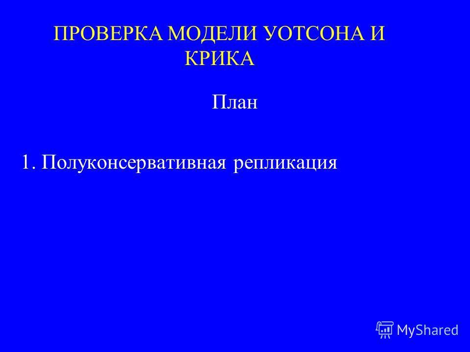 ПРОВЕРКА МОДЕЛИ УОТСОНА И КРИКА План 1. Полуконсервативная репликация