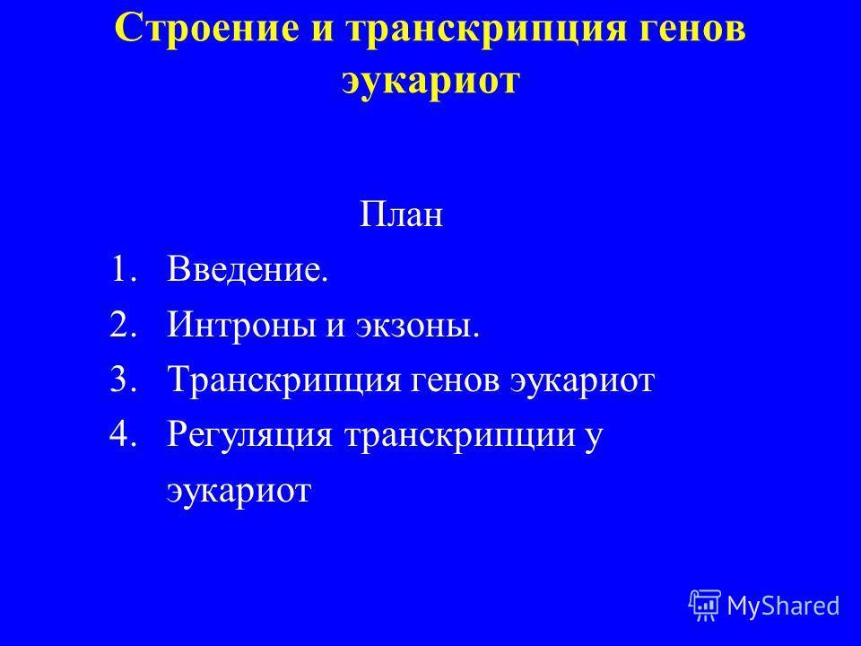 Строение и транскрипция генов эукариот План 1.Введение. 2.Интроны и экзоны. 3.Транскрипция генов эукариот 4.Регуляция транскрипции у эукариот