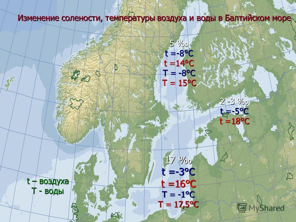 17 17 t =-3°C t =16°C Т = -1°С Т = 17,5°С 5 t =-8°C t =14°C Т = -8°С Т = 15°С 2 -3 2 -3 t =-5°C t =18°C Изменение солености, температуры воздуха и воды в Балтийском море t – воздуха Т - воды