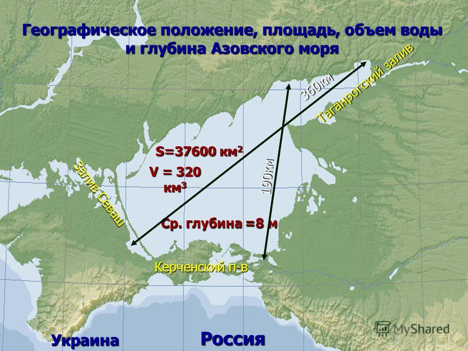 Географическое положение, площадь, объем воды и глубина Азовского моря Россия Украина S=37600 км 2 V = 320 км 3 Ср. глубина =8 м 360км 190км Таганрогский залив Залив Севаш Керченский п-в