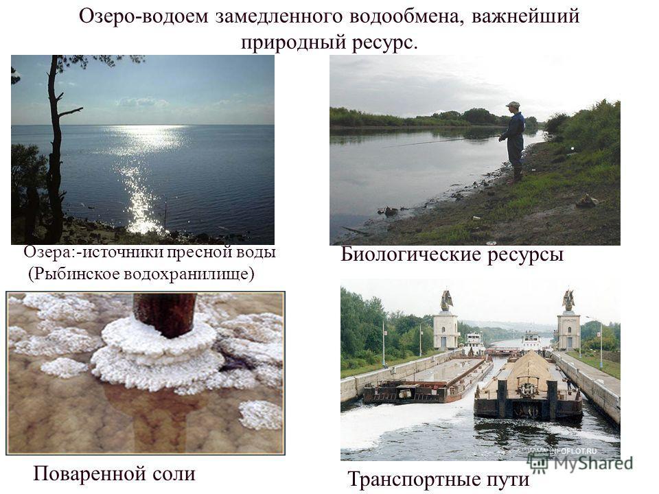 Озеро-водоем замедленного водообмена, важнейший природный ресурс. Озера:-источники пресной воды (Рыбинское водохранилище) Биологические ресурсы Поваренной соли Транспортные пути В России встречаются все типы озер по происхождению: 1.Тектонические:Бай