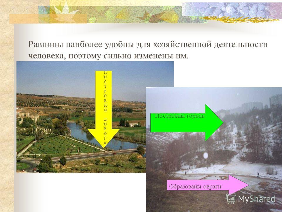 Равнины наиболее удобны для хозяйственной деятельности человека, поэтому сильно изменены им. Построены города Образованы овраги ПОСТРОЕНЫДОРОГиПОСТРОЕНЫДОРОГи