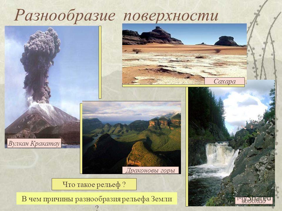 водопад Разнообразие поверхности В чем причины разнообразия рельефа Земли ? Сахара Вулкан Кракатау Драконовы горы Что такое рельеф ?