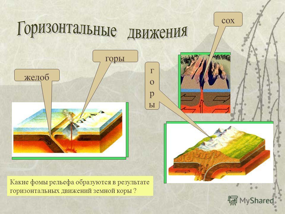 желоб горы горыгоры сох Какие фомы рельефа образуются в результате горизонтальных движений земной коры ?